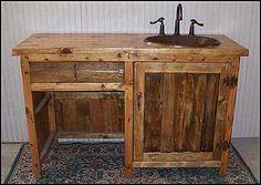 Photo of Front View - Rustic Bathroom Vanity: Rustic Bathroom Vanity with Knee Hole and Copper Sink