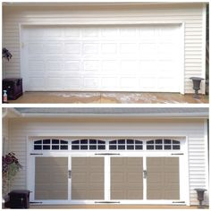 DIY Faux Carriage Style Garage Door Before and After Tutorial Picture Spring time means long lines at Lowes Hardware and getting your home ready for summer. Here is an easy DIY project to add tons of curb appeal to your boring or dated garage doors. Garage Door Opener, House, Carriage Style Garage Doors, Remodel, Garage Decor, House Styles, Garage Remodel, Door Makeover Diy, Diy Garage Door