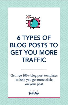 6 types of blog posts to get you more traffic to your blog #trafficbuilding #blogging #trafficblogging blog post titles and templates are FREE!