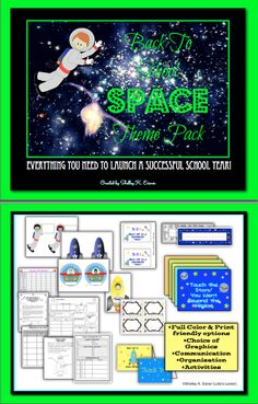 $Launch the year with an out of this world, Mission Back to School, space theme pack.This 111 page file has everything you need to blast off to a successful school year! From decorating and organizing your room, to planning a successful Open House, and exciting first week activities and materials, this printable pack includes everything you need! Links to editable parent pages are included.