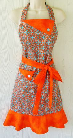 Hey, I found this really awesome Etsy listing at https://www.etsy.com/listing/208209141/orange-and-turquoise-damask-apron-womens