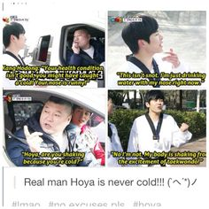 Hoya!! So Cute! My favorite part of this whole episode was Hoya trying to get on their team and get in the car. He was so adorable.