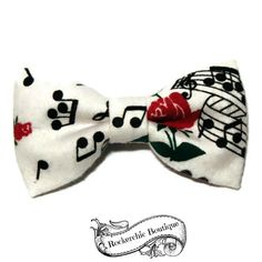 Music Note Hair Bow - Rockabilly, Pin Up, Roses, Womens - Big, Teen, Adult - White, Black, Red - French Barrette, Snap Clip, Alligator Clip
