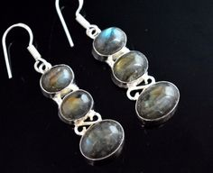 Fabulous Flashy Labradorite 925 Silver Plated Earring Wedding Gift For Her E516 #valueforbucks #DropDangle