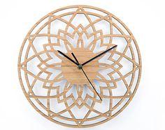 Reloj, reloj de pared de madera, casa, reloj pared moderno, estreno de una casa regalo, 5to aniversario, salón reloj de pared, Hygge anticuados estilo de estrellas