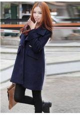 Wholesale  Fashionable & Modern Lapel Zipper Pure Color Long Sleeve Loose Coat----Navy  top dresses