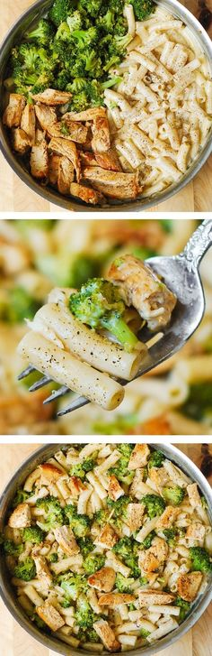 Delicious, creamy chicken breast, broccoli, garlic in a simple, homemade cream sauce. My favorite alfredo pasta!: