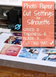 Photo Paper Cut Settings for Silhouette