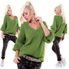 Italian Green Knitted Wool V Neck Jumper with Beautiful Sleeve One Size Top European Fashion, Unique Fashion, Timeless Fashion, Green Wool, Cable Knit Sweaters, Casual Looks, Knitwear, Jumper, V Neck