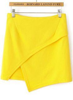 Yellow Casual Asymmetrical Bodycon Skirt $15.83 S