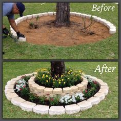 DIY Tree Ring Planter for your garden.