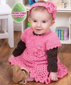 Little Sweetie Dress & Headband  crochet baby dress pattern-free