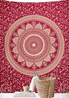 Red Sunflower - Eco-friendly Twin Mandala Tapestry