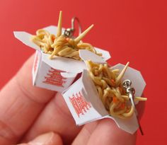 Chinese Take Out Earrings, Miniature Food Jewelry, Polymer Clay Food Earrings on Etsy, $25.00