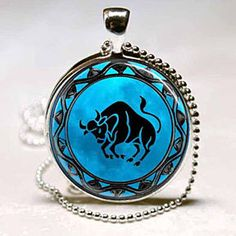 Taurus The Bull Astrological Zodiac Sign Aquamarine Turquoise Old World Stone Border Greek And Roman Mythology Glass Photo Pendant Silver Necklace Jewelry by ChicBridalBoutique on Opensky