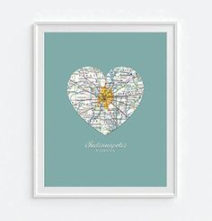 Indianapolis Indiana Vintage Heart Map Art Print, UNFRAMED, Customized Colors, Wedding gift, Christmas gift, Engagement Anniversary Valentines day Housewarming gift, ALL SIZES, $8.99