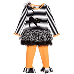 BONNIE JEAN Girls Striped Black Cat Tunic Top & Leggings Set