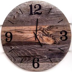 This item is unavailable Rustic Wall Clocks, Unique Wall Clocks, Wood Clocks, Reclaimed Barn Wood, Rustic Barn, Wall Clock Gift, Laser Cutter Projects, Gifts For Office, Large Clock