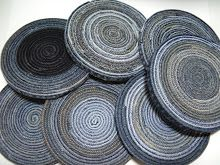 "Recycle denim seams/hems!   Make coasters or even ""trivets""!"