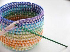 "hatandsandalsguy: ""podkins: "" COIL + CROCHET RAINBOW BASKET DIY Oooo I love this. I've been making some of these for myself, but this is a very helpful tutorial that I hadn't seen before. Crochet Storage Basket Pattern Lots Of Ideas An old t-shirt Crochet Diy, Crochet Home, Crochet Crafts, Yarn Crafts, Sewing Crafts, Crochet Ideas, Fabric Crafts, Plastic Bag Crafts, Rope Crafts"