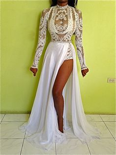 GISELLE custom white black ivory embroidery lace sheer bodysuit & crystal belt full  chiffon skirt layered gown dress