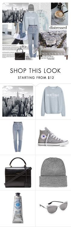 """""""True Blue"""" by blogthegoodlife ❤ liked on Polyvore featuring Oris, Citizens of Humanity, MANGO, Vetements, Converse, Yves Saint Laurent, Topshop, L'Occitane, McQ by Alexander McQueen and HomePop"""