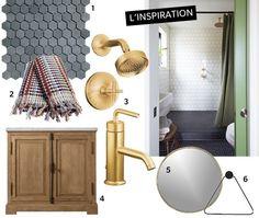 Avis d'expert : vintage renouvelé 1. Carreaux hexagonaux en granit (3 cm), Tuiles Olympia. 2. Serviettes, Ramacieri Soligo. 3. Robinetterie Purist en Brushed Gold par Kohler, Ciot. 4. Meuble-lavabo, RH Restoration Hardware. 5. Miroir, CB2. 6. Porte-serviettes, Clever Spaces. #deco #design #designer #montreal #quebec