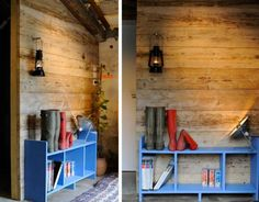 DIY recycled scaffolding, timber wall, reclaimed wood