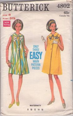 MOMSPatterns Vintage Sewing Patterns - Butterick 4802 Vintage 60's Sewing Pattern COOL Easy 3 Pieces Mod Mamma Maternity Twiggy Dress, Faux Front Buttons