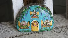 Painted Blue Fairy Garden Cottage Gnome Home by MyPaintedSwan