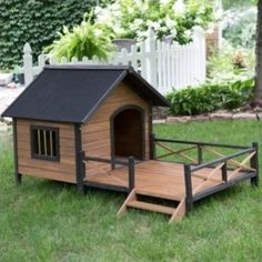 Dog-House-Lodge-Solid-Fir-Wood-Sun-Deck-Porch-Shelter-Sanctuary-Home-Large-New