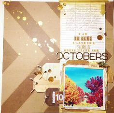 Gold/Kraft with Fall Pics...Love.  @ Two Peas in a Bucket
