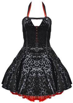 Living Dead Souls Black Red Leopard Print Corset Gothic Prom Dress