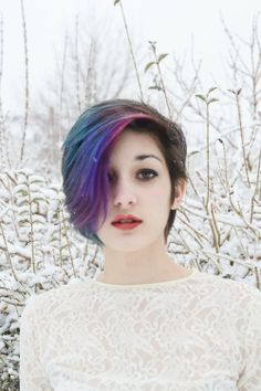 PURPLE HAIR as part of gradient blues and purples but only a wide section, rest…