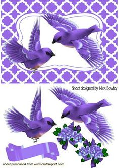 PURPLE BIRDS IN FLIGHT  on Craftsuprint - Add To Basket!