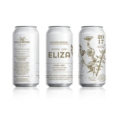 line ilustration, simple colour. ---------------- Can label design for Fieldwork Brewing Co - Barrel Aged Eliza - Design by Gamut, in San Francisco, CA Juice Packaging, Beverage Packaging, Coffee Packaging, Bottle Packaging, Craft Beer Labels, Beer Label Design, Drink Labels, Branding, Food Packaging Design