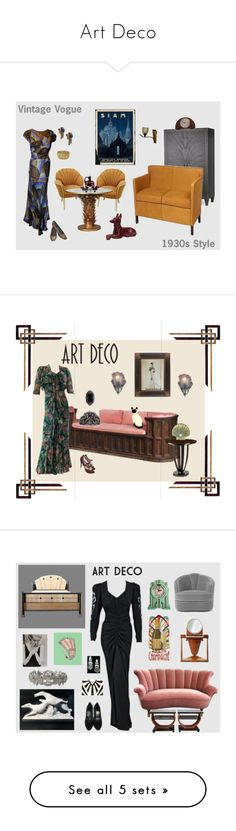 """""""Art Deco"""" by anna-ragland ❤ liked on Polyvore featuring Andrew Martin, Knoll, Bungalow 5, Yves Saint Laurent, WALL, Hattie Carnegie, Sessions, vintage, L.K.Bennett and Royal Doulton"""