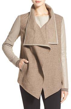 leather trim drape neck jacket