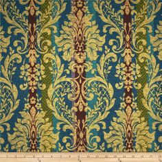 Robert Allen Promo Simpson Damask Stripe Celestial from @fabricdotcom  This lightweight polyester fabric is appropriate for window treatments, accent pillows and some upholstery. Colors include green, purple, plum, blue, teal and tan.