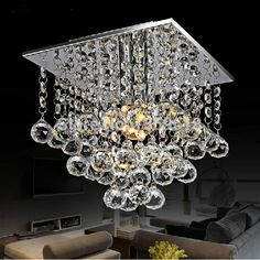 69.95$  Buy here - http://ali6d5.worldwells.pw/go.php?t=32724527024 - Mini LED Crystal Chandelier Crystal Lustre Modern LED ceiling lamp lights 22 x 22 square 1 light Free shipping
