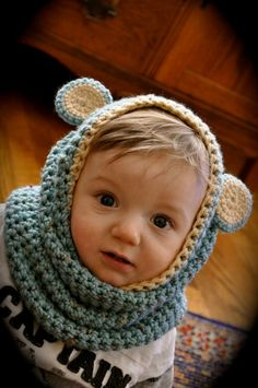 Little bear cowl--I can't find the actual link for this, but the blog is in a different language anyway, so...no pattern