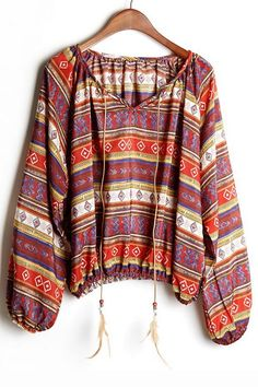 Tribal Drawstring Long Sleeve Blouse - OASAP.com