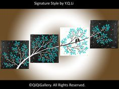 """Romantic Painting Abstract Painting Landscape Painting Impasto Painting Palette Knife Love Birds Painting Tree Painting """"Life Is Beautiful"""" – art Painting & Drawing, Painting Abstract, Multi Canvas Painting, Knife Painting, Love Birds Painting, Painting Trees, Tree Paintings, Romantic Paintings, Wall Decor"""