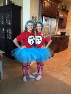 Last Minute Halloween Costume Ideas Last Minute Thing 1 and Thing 2 Costumes .Last Minute Thing 1 and Thing 2 Costumes . Best Group Halloween Costumes, Cute Costumes, Halloween Outfits, Group Costumes, Teen Costumes, Pair Costumes, Zombie Costumes, Homemade Halloween, Family Costumes