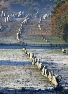 The Carnac stones are an exceptionally dense collection of megalithic sites around the French village of Carnac, in Brittany, consisting of alignments, dolmens, tumuli and single menhirs. More