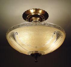 Restored Antique Art Deco Glass Ceiling Light Fixture 1930s Vintage Peach Color   eBay
