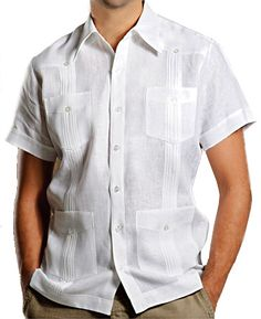 """The guayabera """"Manny"""": Our Short Sleeve Guayabera, Short Sleeve Guayabera Linen Shirt. Made in the USA. Can be size customized. Available in various linen colors. Great shirt for business casual wear, summer wedding attire, beach wedding attire, destination wedding attire, tropical wedding attire, and island wedding attire."""