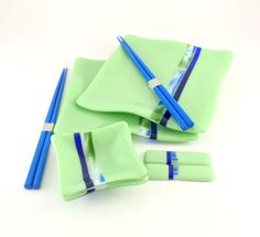 Fused Glass Sushi Set for Two Green and Blue by Nostalgianmore