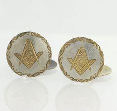 Masonic Blue Lodge Cuff Links  10k Yellow & by WilsonBrothers