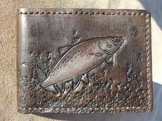 Custom Leather Wallets | Custom leather Leaping fish wallet fish by LovejoyCreations, $85.00